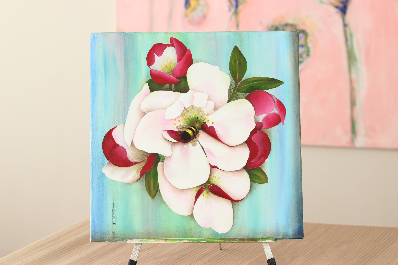 Como Pintar Flores Y Abejas Pintura Acrilica Uso De Pinceles Mabel Blanco Flores Pintadas Como Pintar Flores Como Pintar