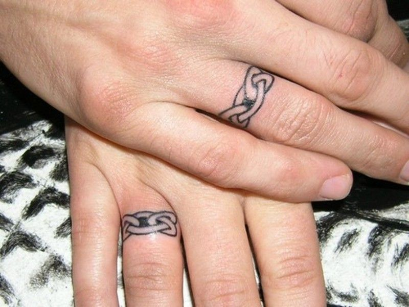 Tattoos On The Fingers Of A Woman And Man