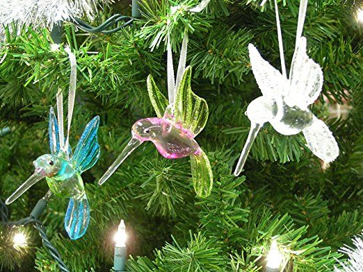 Hummingbird Glass Ornaments with Glitter Accents - Set of 3