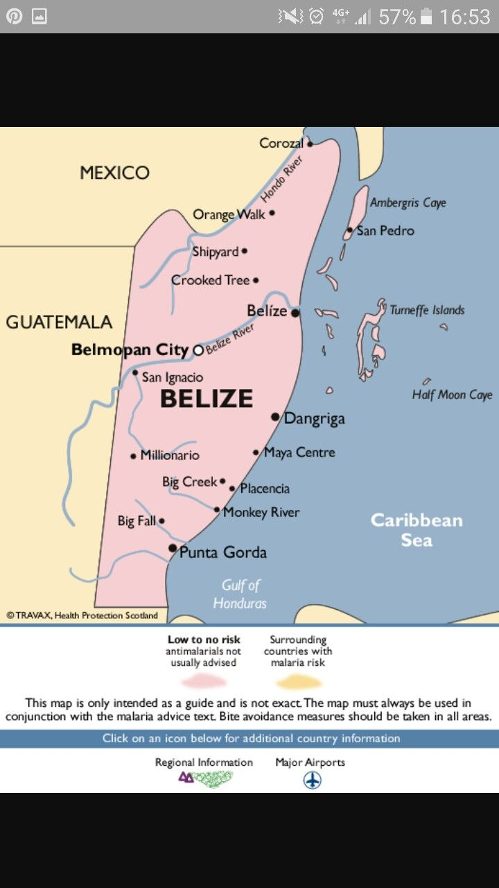 Malaria risks belize | Central America | Belize, Central america, Map