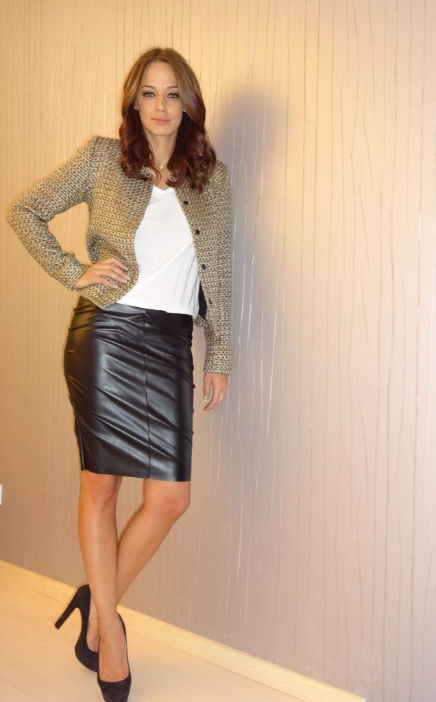 Cute Outfit With Leather Pencil Skirt White Top Brown Blazer Black