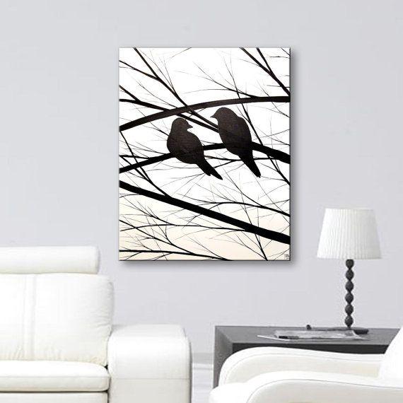 Bird Silhouette Wall Art Canvas Art Black White Painting Art