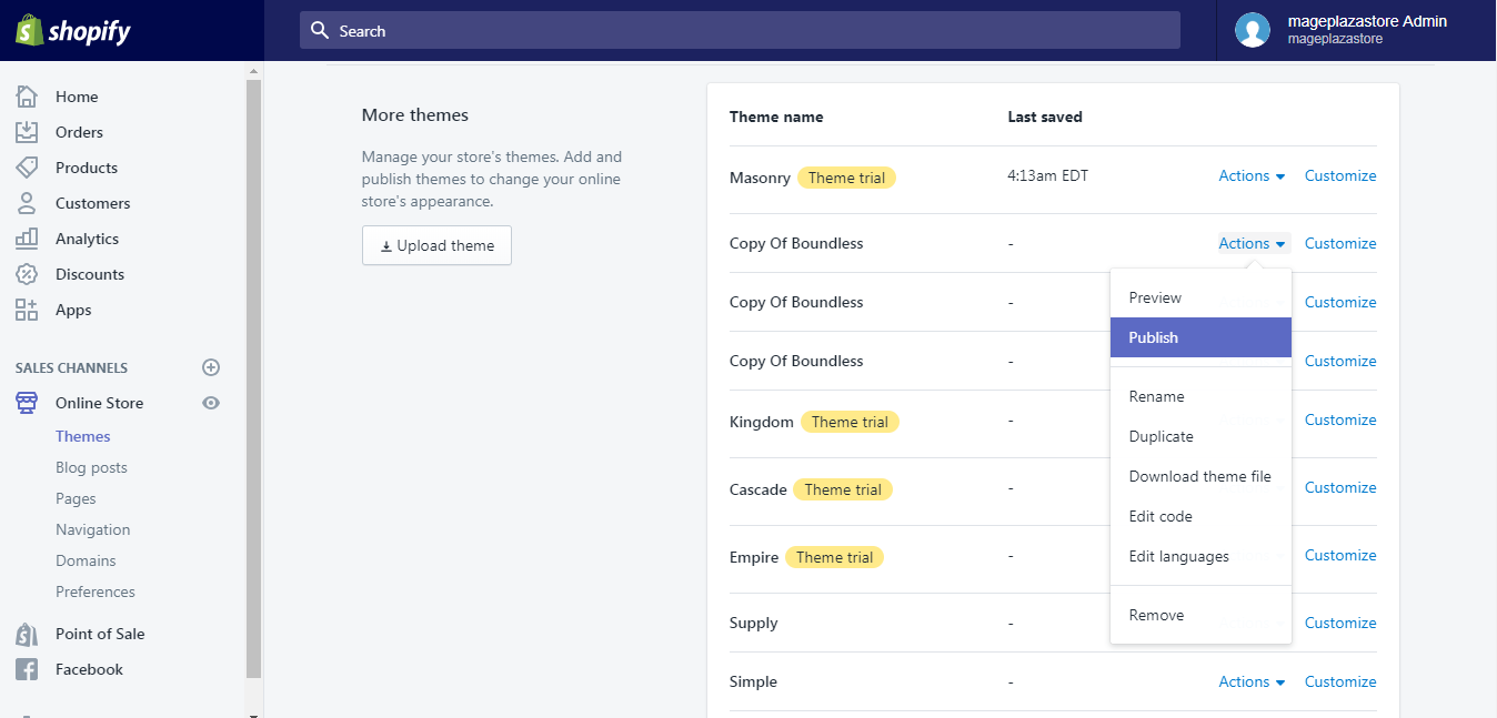 Tutorial on publish a theme from the admin on Shopify | Shopify