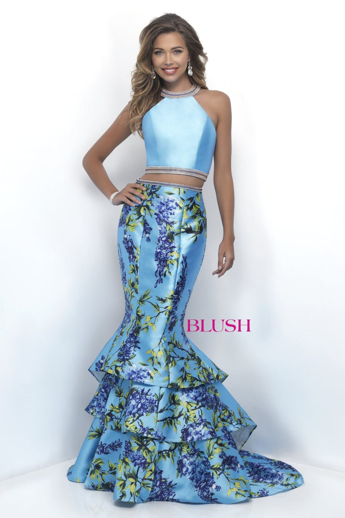 Blush Prom 11247 Sky Blue High Neck Tiered Mermaid Two Piece Prom Dress