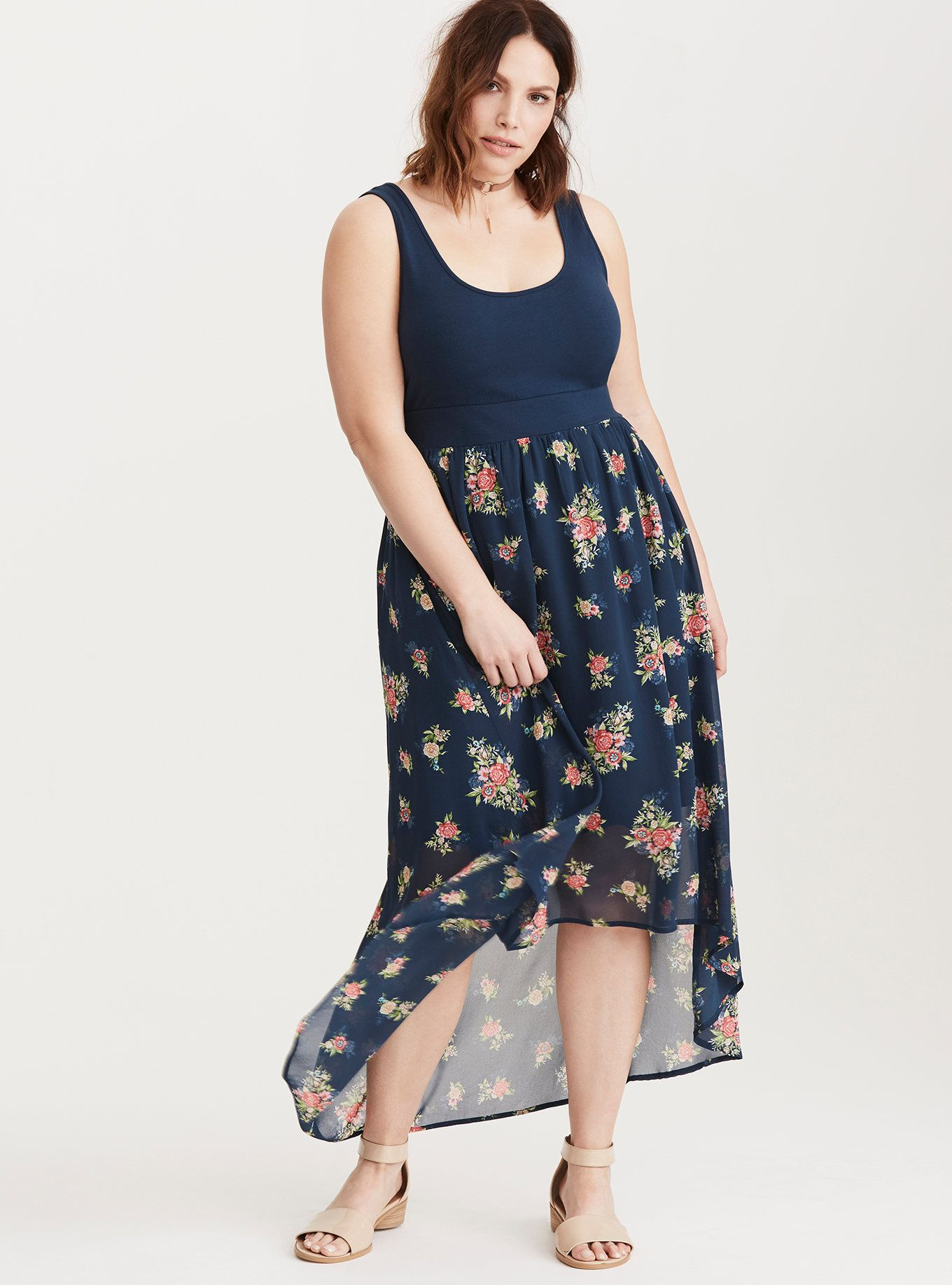 Lace dress torrid  Floral Print Knit to Woven HiLo Maxi Dress  Torrid Maxi dresses