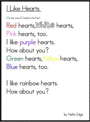 great Valentine's fluency poem - colors! @Chelsea McDonald