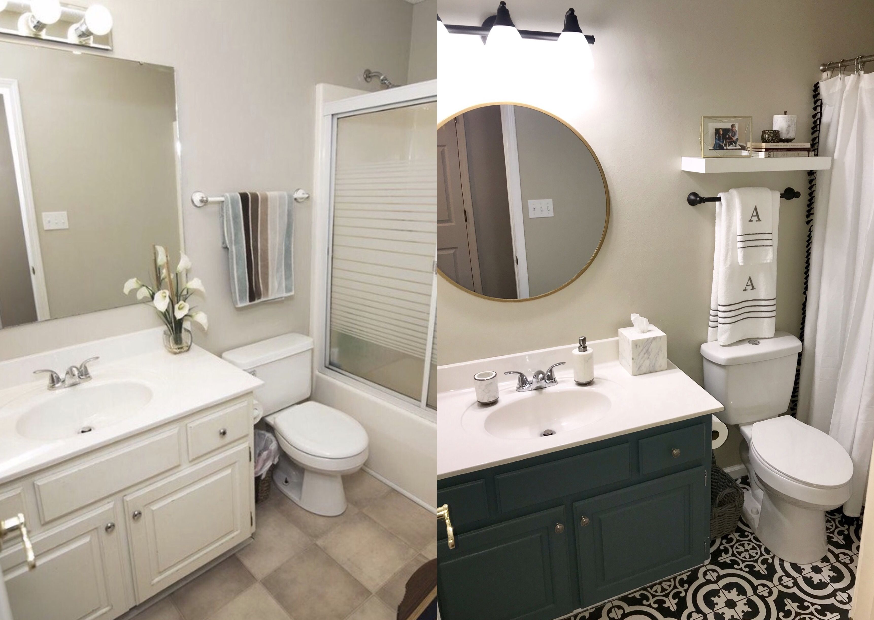 Before And After For Our Hall Bath Cheap Bathroom Update Black And White Tile From Lowes Laid Right On T Black Bathroom Floor Cheap Bathrooms Trendy Bathroom