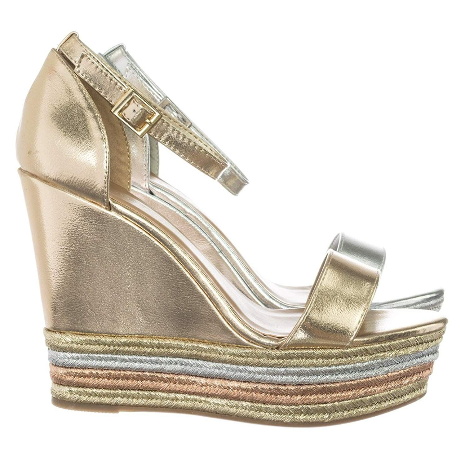 58acd2a2cba Metallic Multi Colored Espadrille Jute Wrap Platform Wedge Dress Sandal.  About This Shoes . Women s
