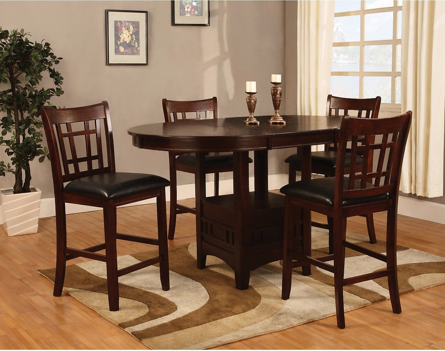 Dalton 5 Piece Chocolate Counterheight Dining Package  Accent Pleasing Dining Room Accent Pieces 2018