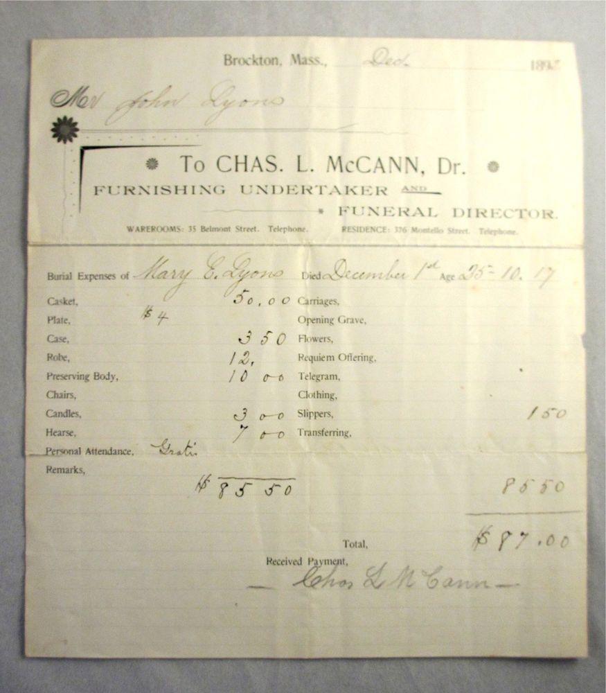 1892 brockton ma charles mccann funeral home embalmer receipt