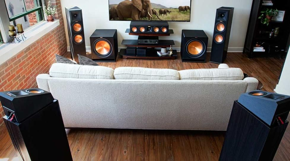 Home theater speaker setup pictures.