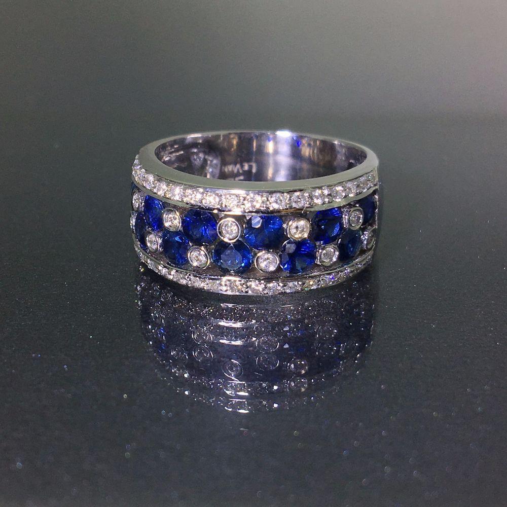 18k White Gold Authentic Levian Natural Vanilla Diamond Blue Sapphire Ring White Gold Ring Band Vanilla Diamonds Blue Sapphire Rings