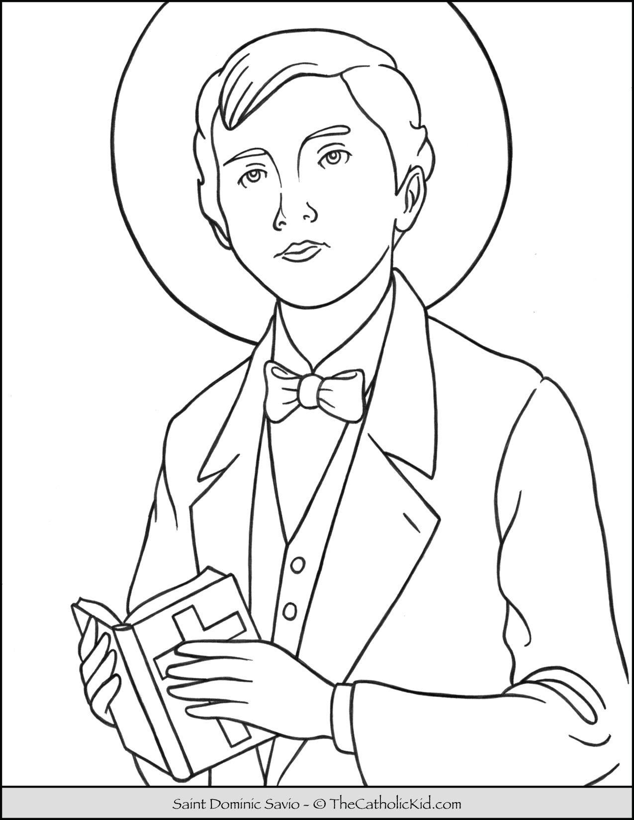 Saint Dominic Savio Coloring Page Thecatholickid Com Saint