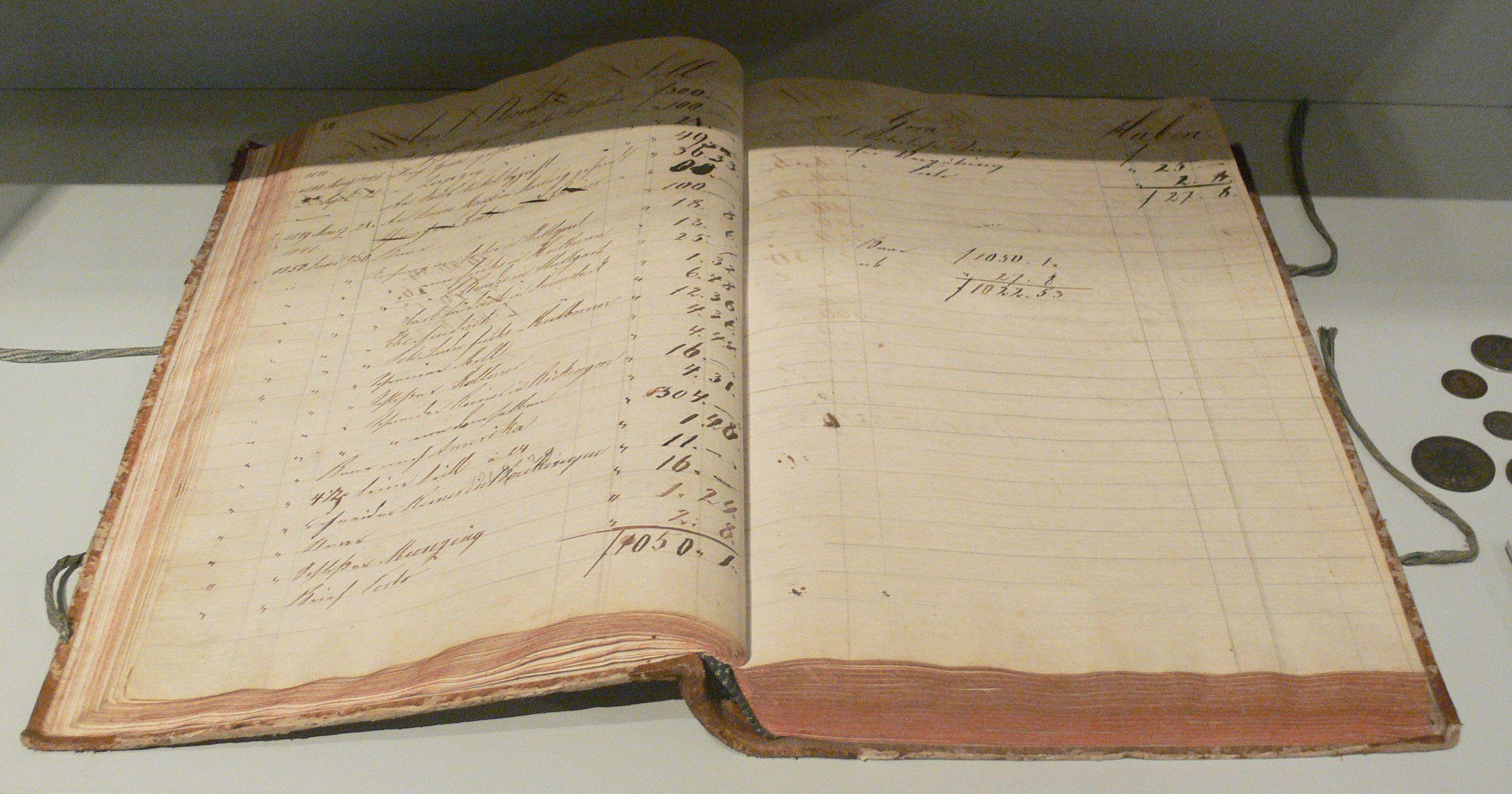 Hauptbuch der Gemischtwarenhandlung Hochstetter, vor 1828. || Early 19th-century German ledger.