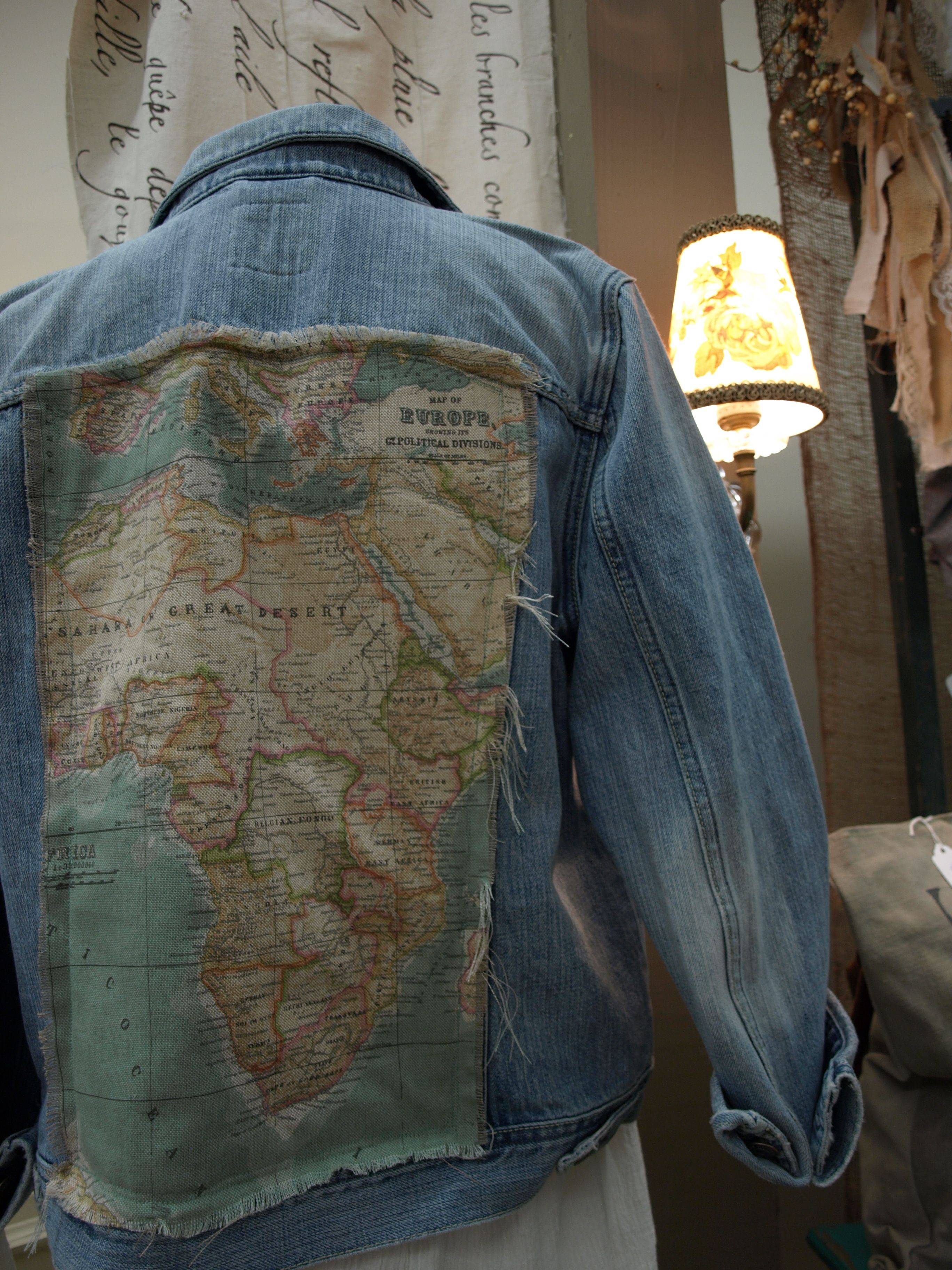 Denim jackets upcycled with annie sloans world map fabric by studio denim jackets upcycled with annie sloans world map fabric by studio 184 in madison wi studio184 anniesloan worldmapfabric chalkpaint gumiabroncs Image collections