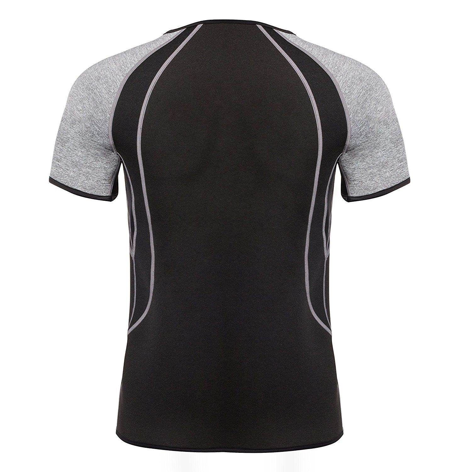 ef9cbff519 Amazon.com   Junlan Men Weight Loss Shirt Workout Neoprene Top Training Body  Shaper Clothes Sweat Sauna Suit Exercise Fitness Short Sleeve (Black