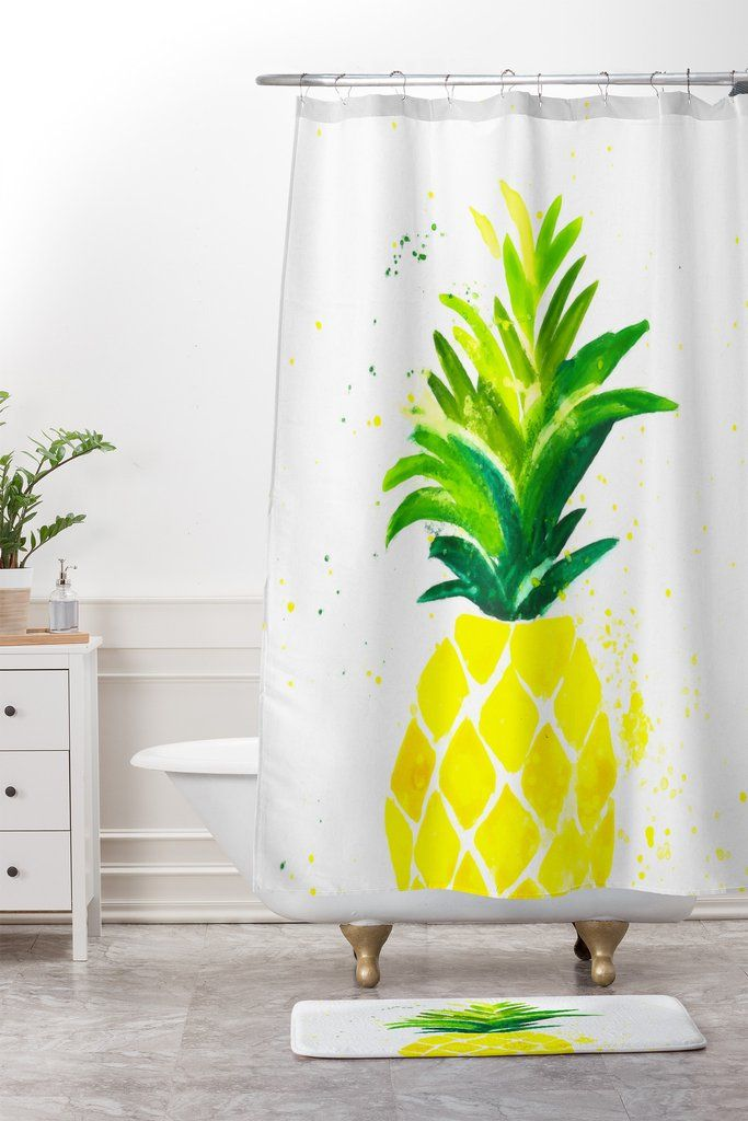 Refresh And Renew Your Bath   Pineapple Sunshine Shower Curtain | DENY  Designs Home Accessories