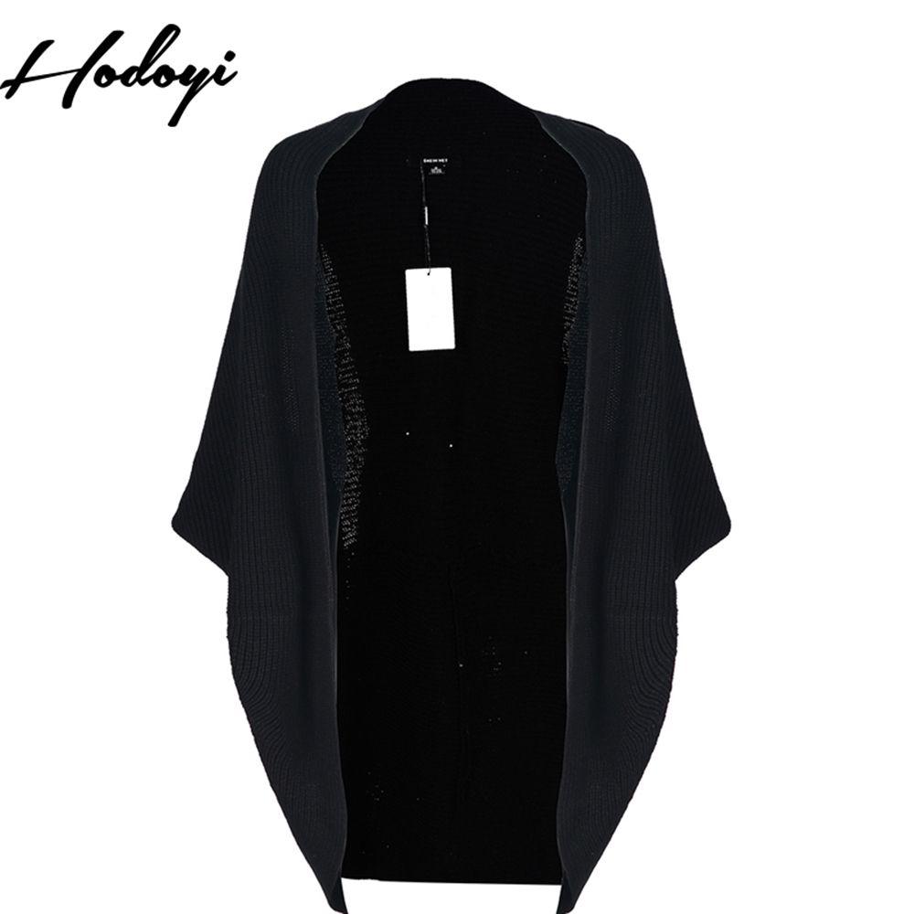 Hodoyi Black Knitting Sweater Women Batwing Sleeve Loose Sweater