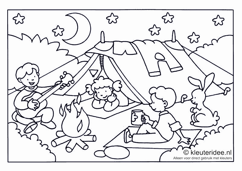 Kleurplaat camping voor kleuters thema kamperen for Camping coloring pages for preschoolers