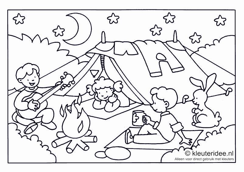 Kleurplaat camping voor kleuters ,thema kamperen