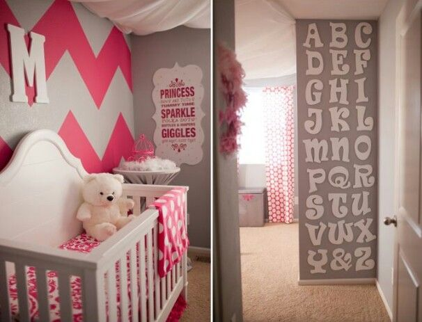 Adorable nursery , love the letter wall
