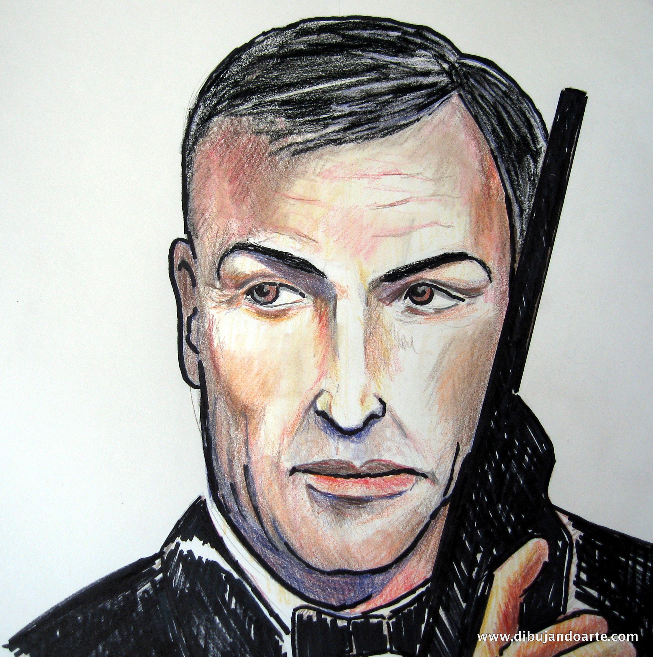 www.dibujandoarte.com - Retrato de James #Bond hecho con #lápices y #rotuladores...  Autor: #FelixFernandez