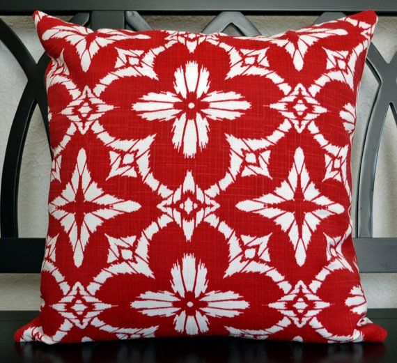 18 X 18 Outdoor Pillow Cover Red And White Outdoor Pillow Cover