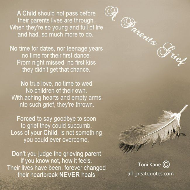 A Parents Grief By Toni Kane A Child Should Not Pass Before Their