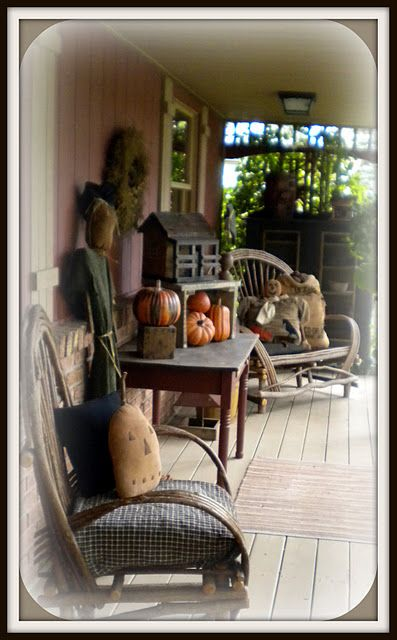 A Country Primitive Porch Ready For Fall Porches The
