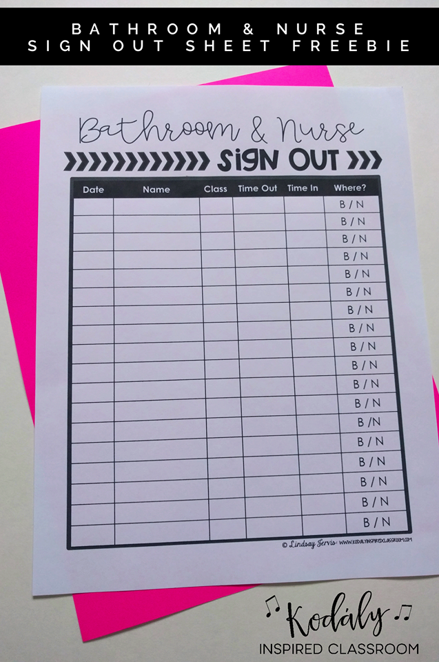 Bathroom Sign Out Ideas this bathroom and nurse sign out freebie is perfect to keep track