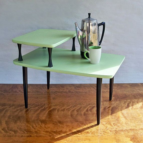 Mid Century Modern 2 Tiered End Table   Side Table   Melon Green U0026 Black  Leapinglemming