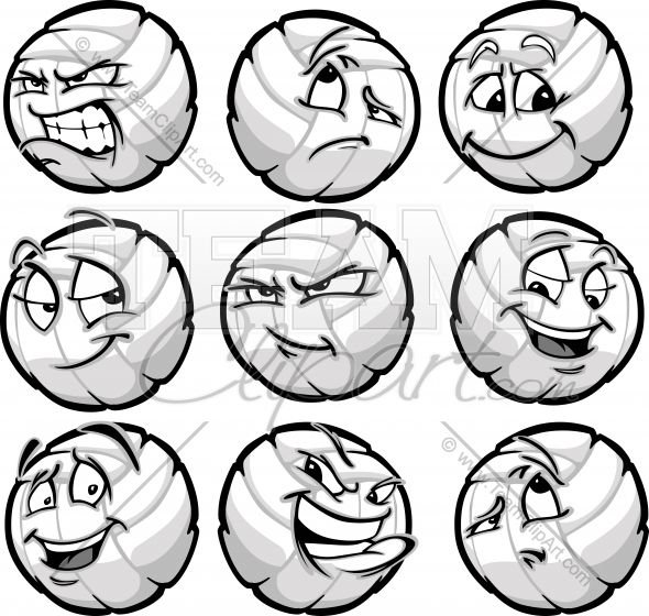 Volleyball Ball Cartoon Faces With A Variety Of Facial Expressions