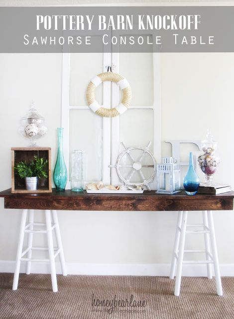 pottery barn knockoff sawhorse table, furniture furniture revivals, outdoor furniture, outdoor living