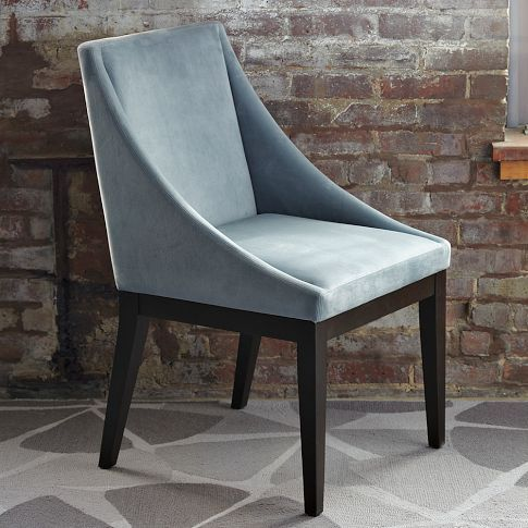West Elm Curved Upholstered Chair   Steel Blue