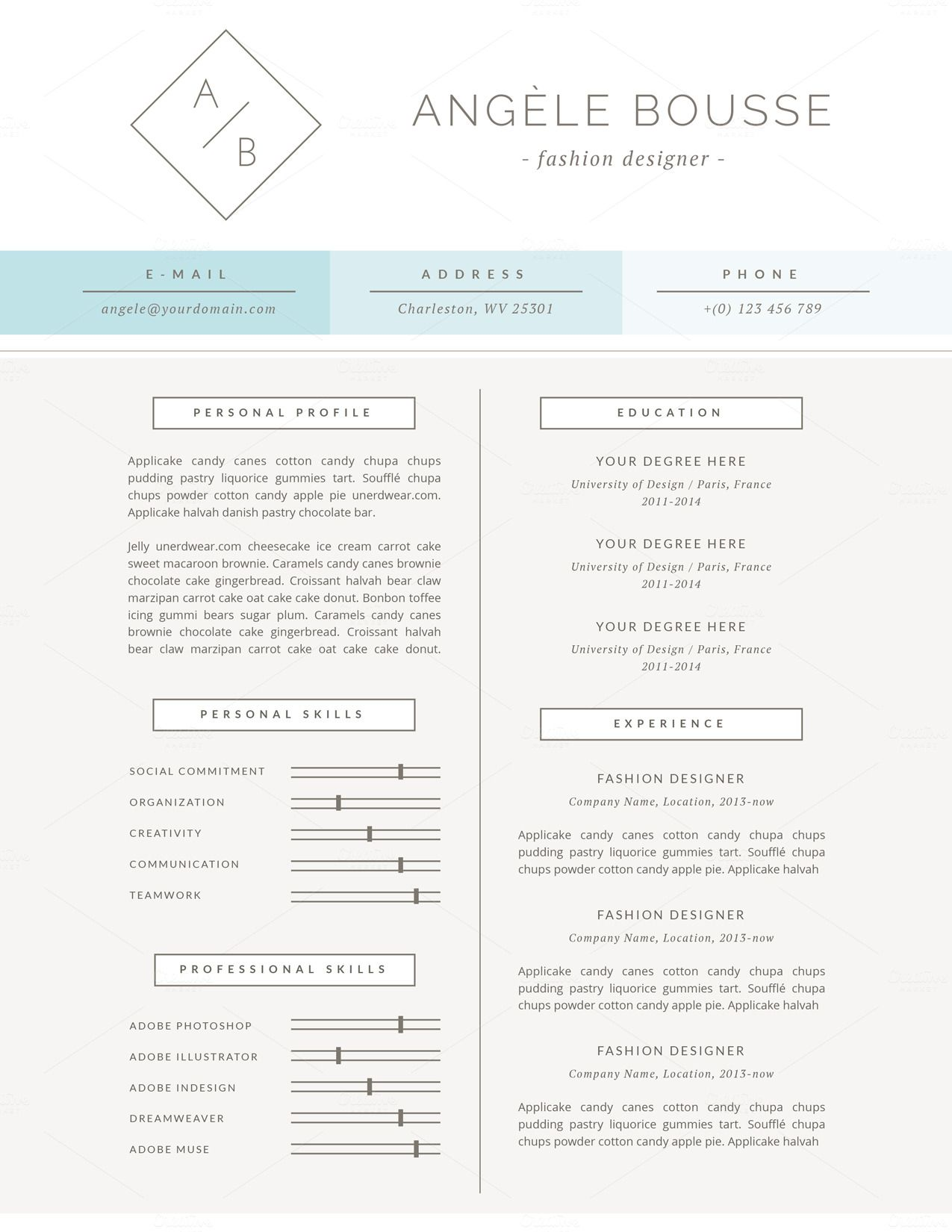 Stylish Resume Template / Angéle | Creativo, Currículum y Zorros
