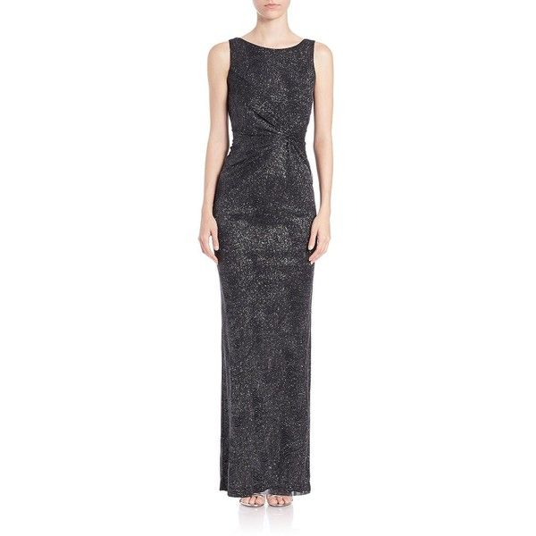 805f4cfc7739 Calvin Klein Gathered Swirl-Pattern Sparkle Gown ($149) ❤ liked on Polyvore  featuring dresses, gowns, black, calvin klein evening dresses, black ball  gown, ...