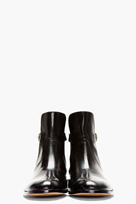 MAISON MARTIN MARGIELA Black Leather Buckle Ankle Boot