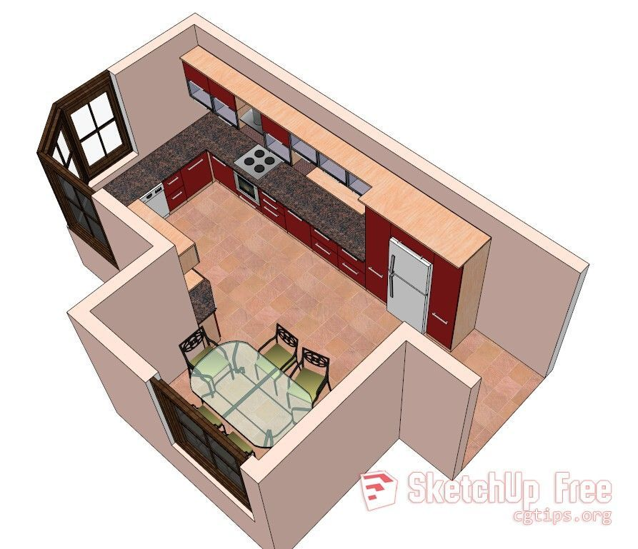 1314 Kitchen Sketchup Model Free Download