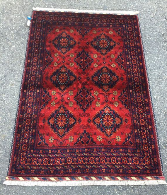 Wool Rug Red Blue Area Rug 3x5 Navy Blue Geometric Floral