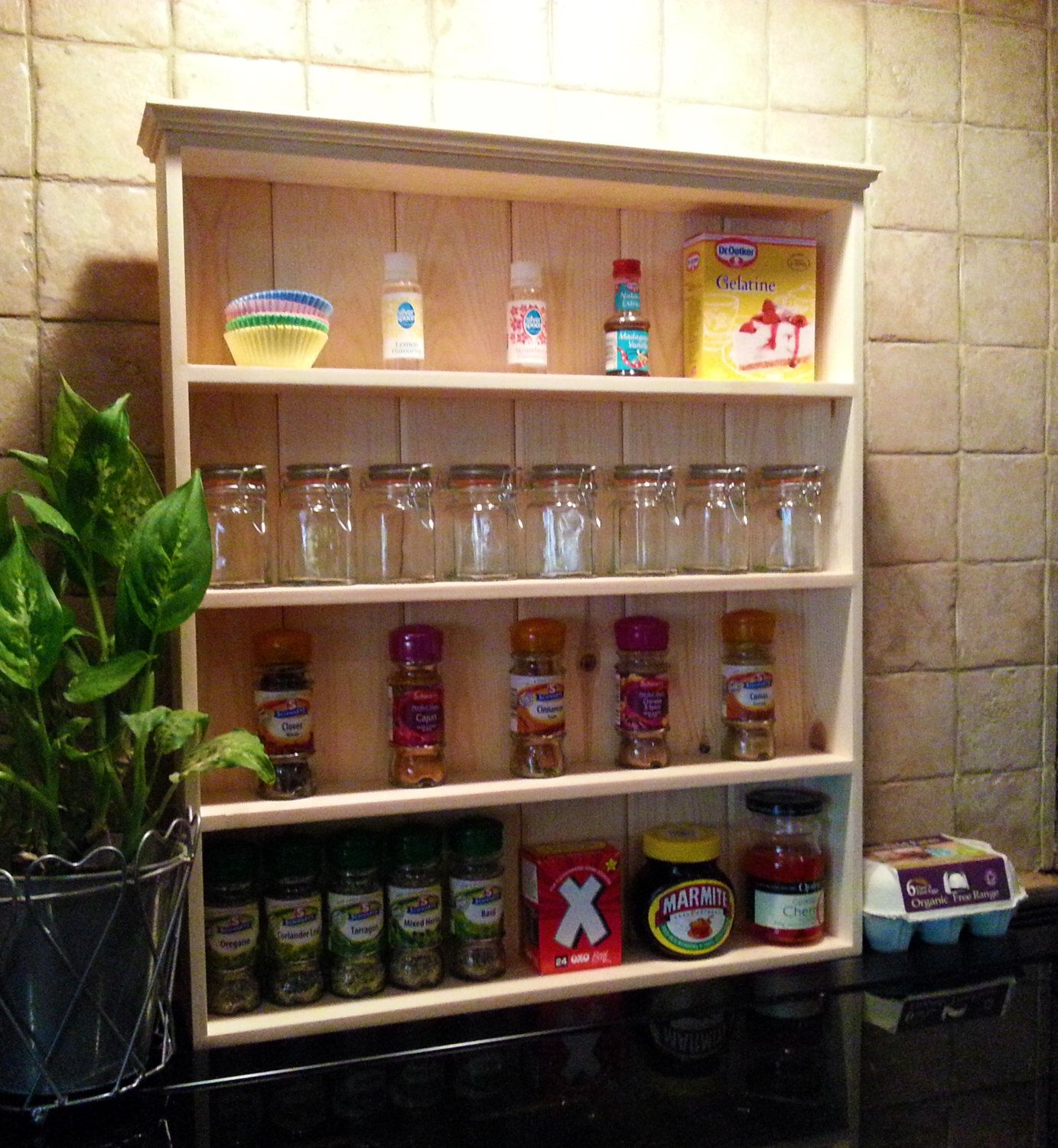 Woodworking Plans For Kitchen Spice Rack: Solid Wood Wall Display Shelves Spice Rack Kitchen Storage