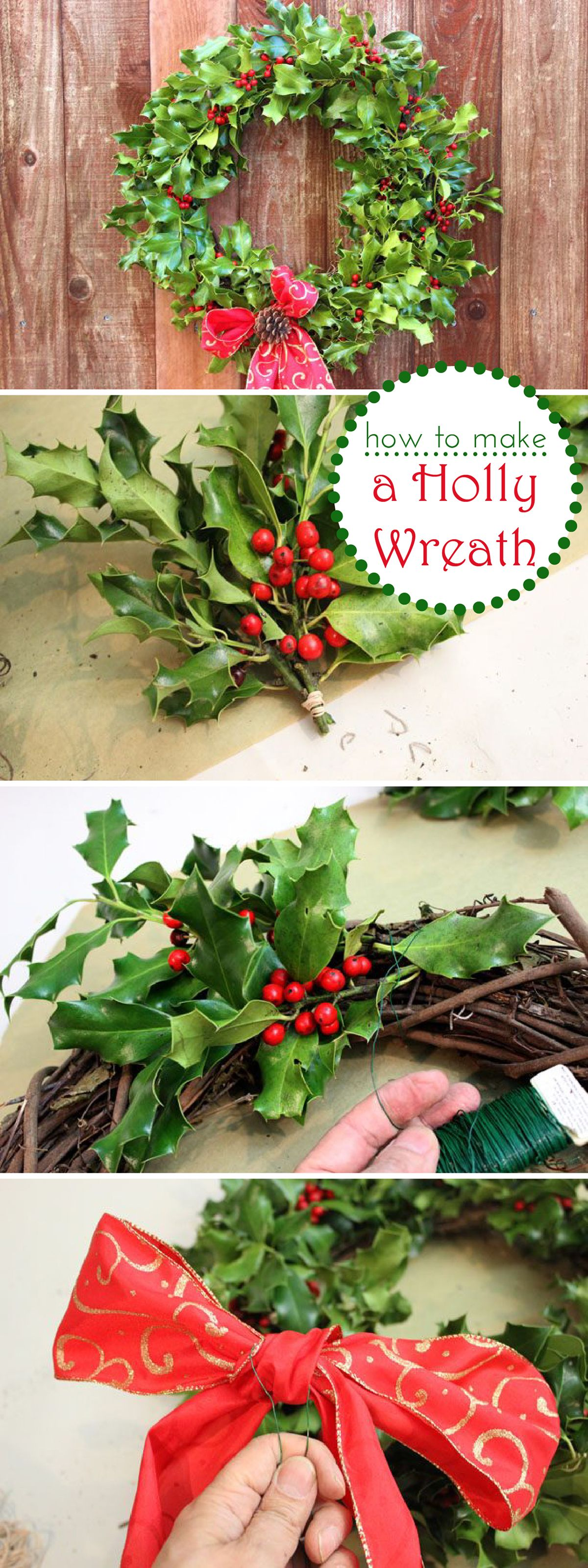 how to make a holly berry wreath