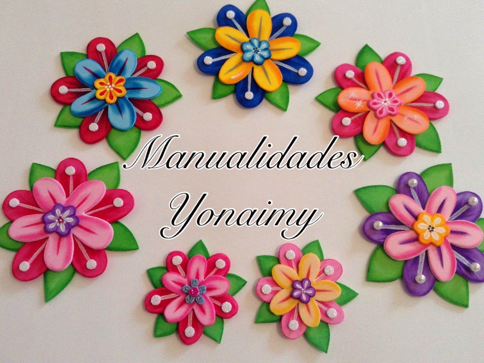 Manualidades yonaimy flores de princesa en foamy goma eva - Flore de goma eva ...