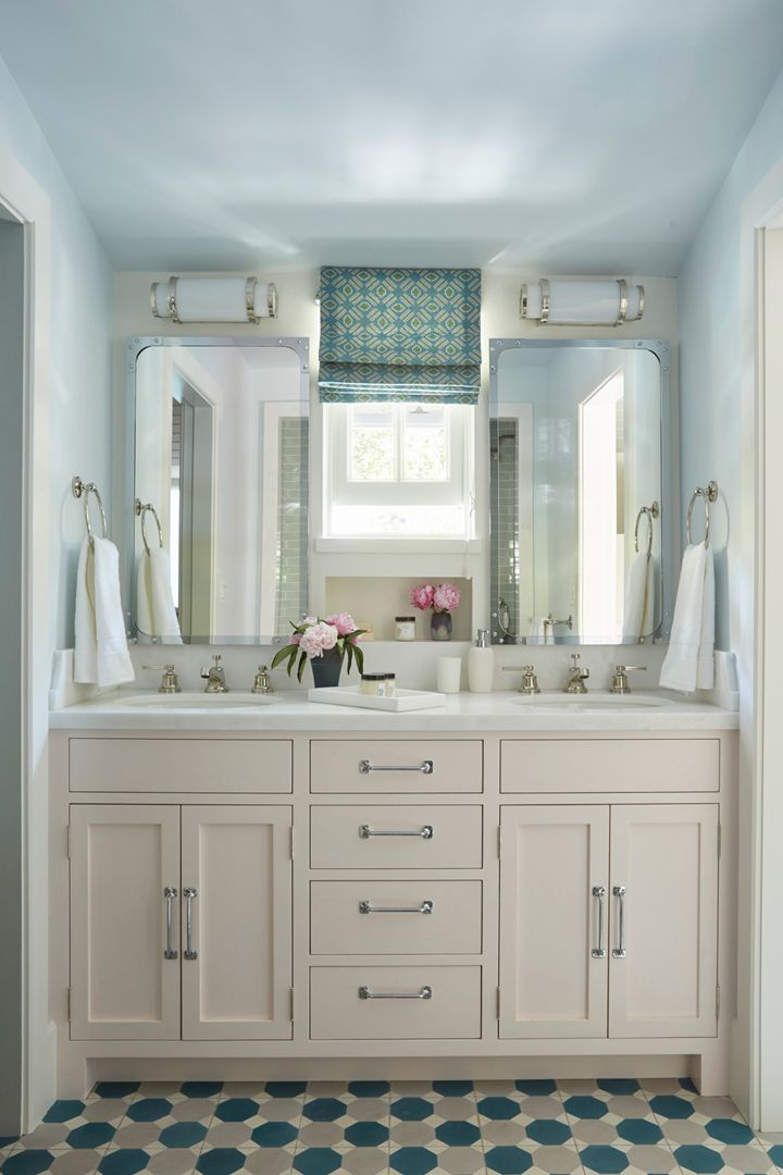 Custom Bathroom Vanity custom bathroom vanity + fun tile + roman shade | bathroom love
