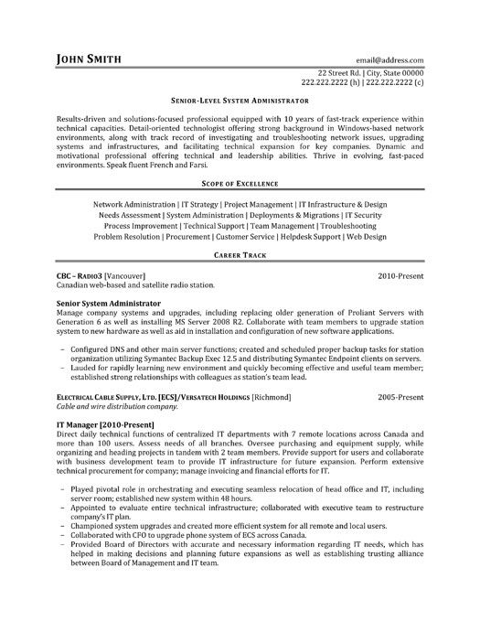 Administrative Resume Sample Click Here To Download This Seniorlevel System Administrator