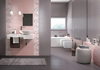 baño en rosa y gris