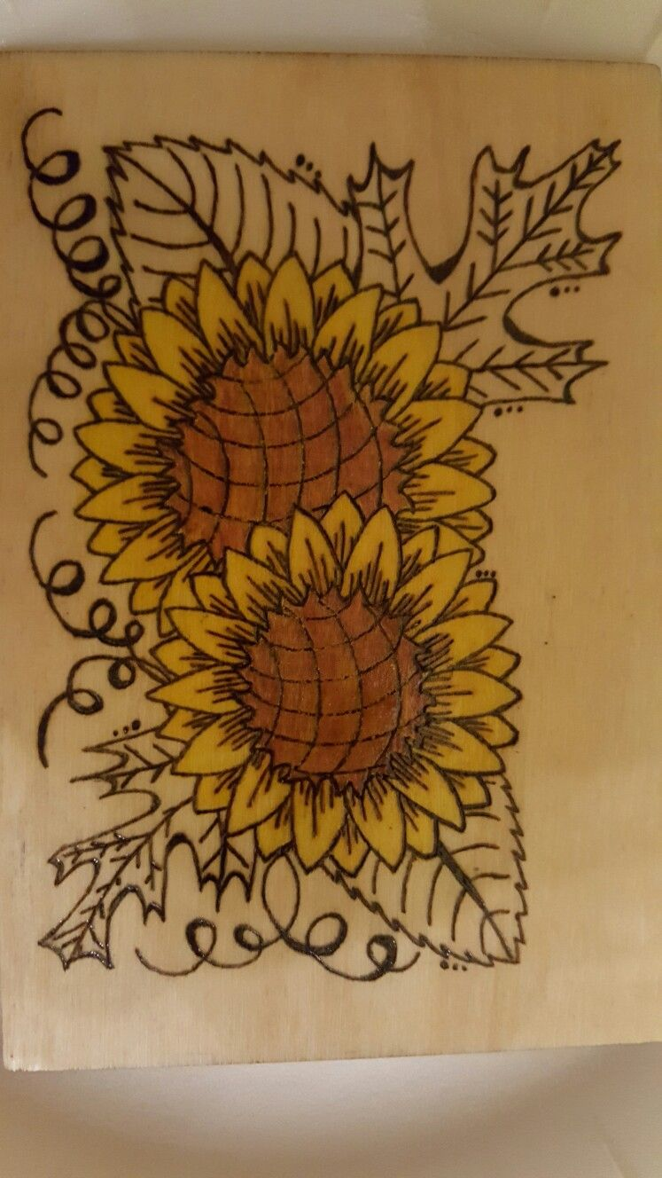 Sunflower Wood Burning With Colored Pencil Maple Leaf Tattoo