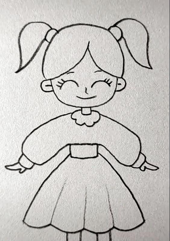 Girl Drawing Easy In 2020 Girl Drawing Easy Girl Drawing
