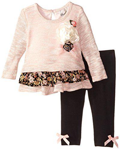 131ffa7729f35 Rare Editions Baby Baby-Girls Newborn Sweater Knit Legging Set, Pink/Black,  6 Months