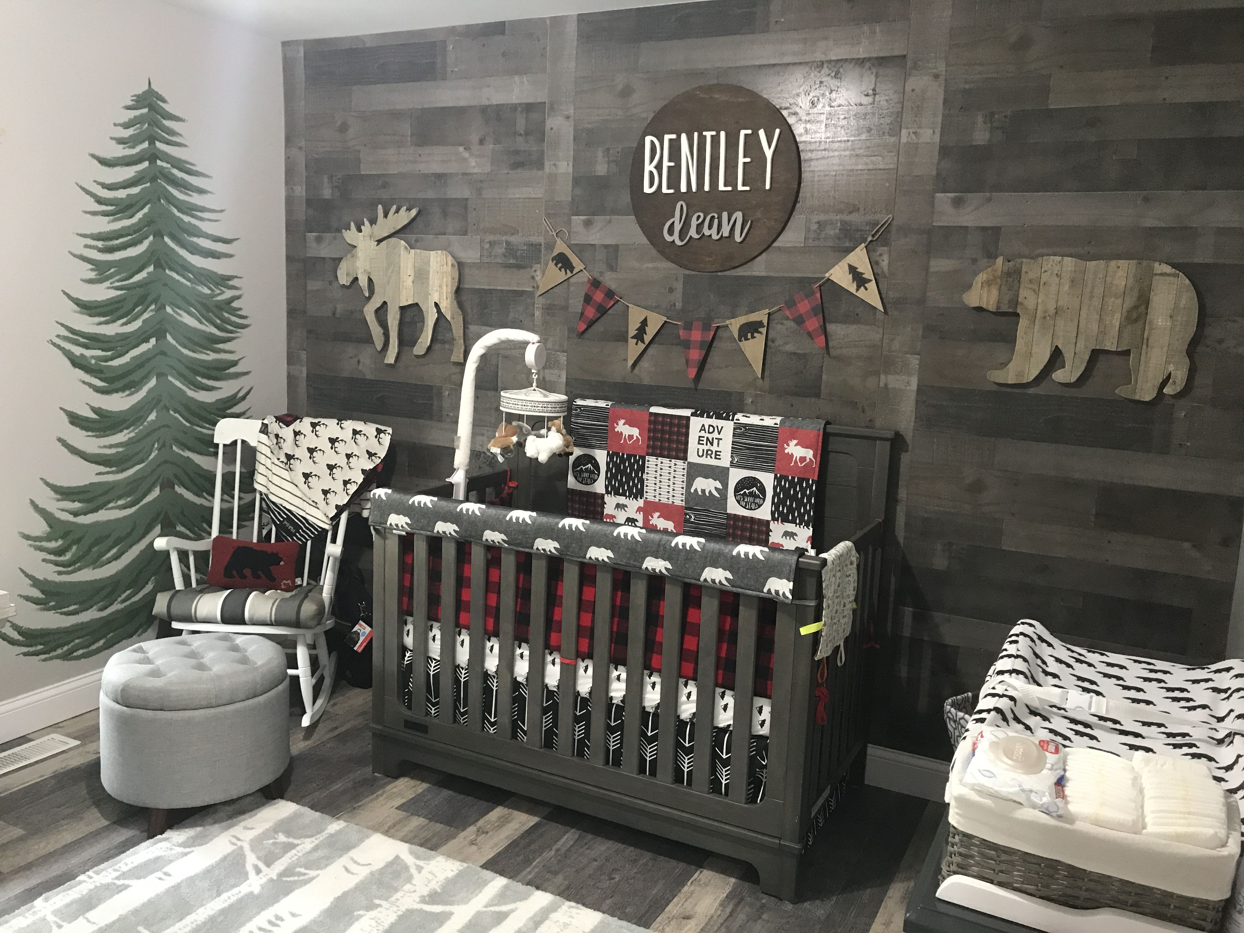 My Baby Boy S Nursery Woodland Theme Bedding Is From Dbc Bedding Bentley Dean Sign Is From Elega Rustic Nursery Room Ideas Baby Room Decor Nursery Baby Room