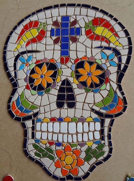 Mosaic Sugar Skull Square Pieces Google Search Mexican
